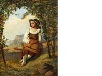 neapolitan girl seated in a coastal vineyard by augustus jules bouvier