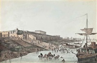 the new court house and chandpam ghaut; the old fort ghaut; the new buildings at chouringhee; old court house and street looking south and others (6 works) by thomas daniell
