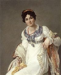 portrait of a lady wearing a white dress with a paisley shawl and holding a glove by francois henri mulard