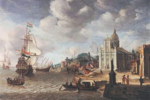 a mediterranean harbour scene with a dutch man o war by jan abrahamsz beerstraten