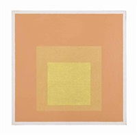 study for homage to the square: light orange, violet with deep red & blue by josef albers
