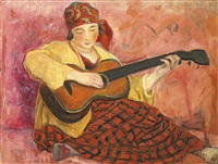 femme à la guitare (nono) by henri lebasque