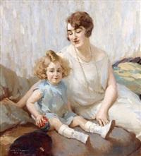 jeune enfant dans les bras de sa mère aimante by charles garabed atamian