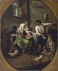 eine bauernfamilie in einem interieur in einem gemalten oval by paolo monaldi