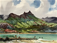 olomana peak, oahu, hawaii, figures on the beach fishing by jade fon