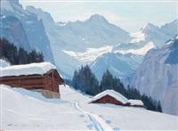 neige à wengen et le breithorn by charles henry contencin