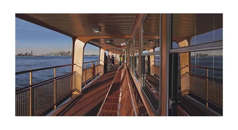 view of new york from staten island on the ferry by richard estes