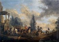 scène de chasse by carel van falens