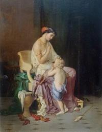 jeune femme et enfant by joseph coomans