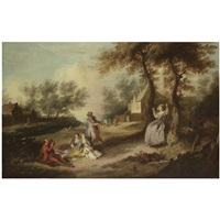a family picnicking in a landscape with a gentleman pulling a lady on a swing by michel barthelemy olivier