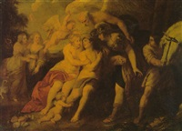 venus and adonis with minerva, saturn and cupid by jacob andries beschey