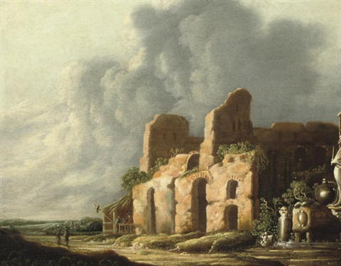 an italiante landscape with ancients ruins by charles cornelisz de hooch