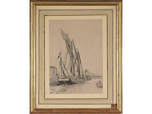 voilier amarré à la jetée by johan barthold jongkind
