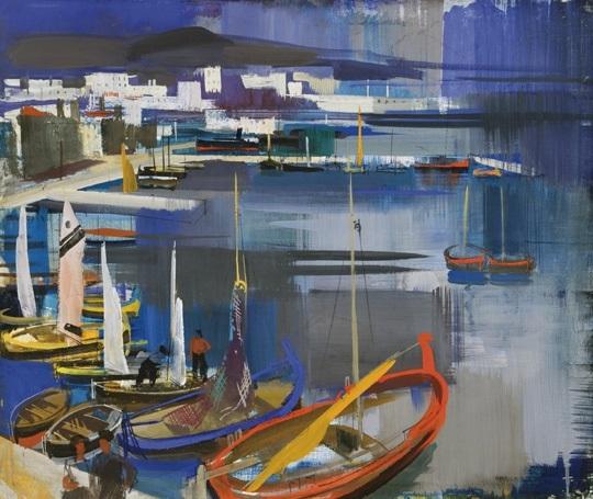 italian seaside mediterranean harbour by vilmos aba novák
