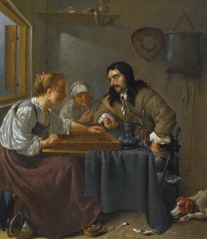 a couple playing backgammon by jacob duck
