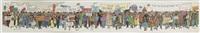 carte de voeux manifestation des personnages de tintin by hergé