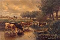 vaches près d'un ruisseau by léon barillot