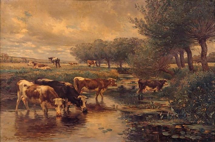 vaches près dun ruisseau by léon barillot