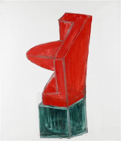 träskulptur målad med falu rödfärg ii by torsten andersson