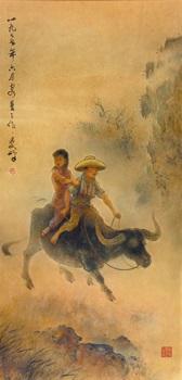 children on water buffalo by lee man fong