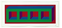 four color isometric figure - a(green, blue, purple, red) (set of 4) by sol lewitt