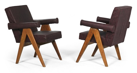 senate armchairs pair by pierre jeanneret
