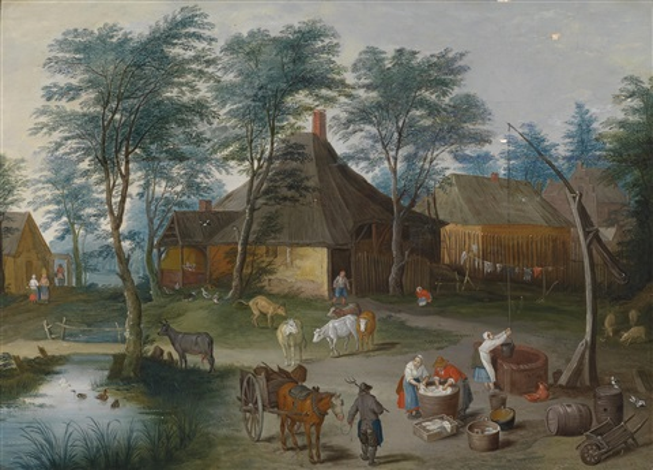 dorfstraße mit bäuerlicher staffage by isaac van oosten