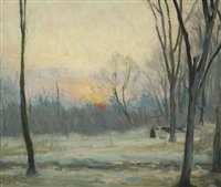 winter sunset, rockcliffe park by ernest george fosbery