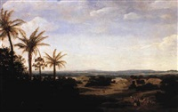 landscape in brazil with the portuguese residence by frans jansz post