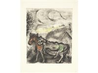 donkey dressed in skin of a lion (+ plates 12, 21 and 64 from le bible; 4 works) by marc chagall