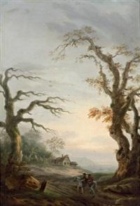 zwei bewaldete landschaften mit figuren by tobias young