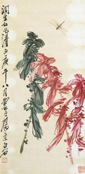 工笔蜻蜒老少年 by qi baishi