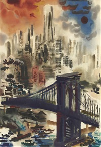 brooklyn bridge and skyline new york by george grosz