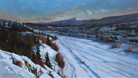 winter scene with dog sled by jim vest