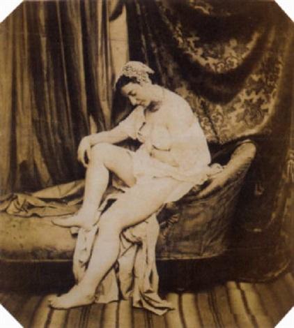 femme en déshabillé sur un lit de repos by joseph auguste belloc