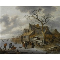 a winter landscape with figures skating on a frozen river by salomon rombouts