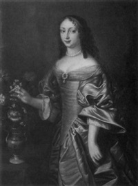 portrait of a lady in blue with vase of carnations by theodorus netscher