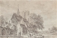 figures by a church, with a stream to the right by pieter jan van liender