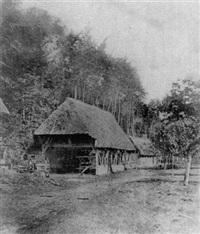 paysage rustique, arbres et grange by alphonse louis poitevin