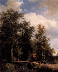 travellers crossing a forest pond by frans arnold breuhaus de groot