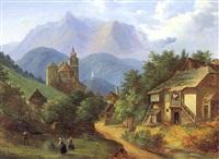 motiv aus eisenerz in der steiermark, mit blick auf die oswaldekirche und dem schichtturm im hintergrund by vinzenz kreuzer