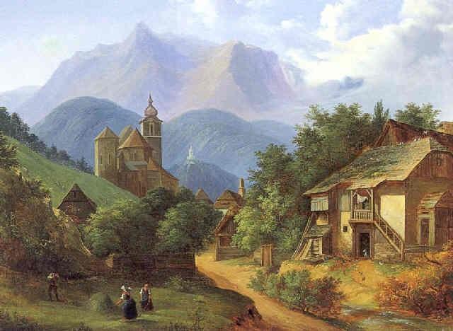motiv aus eisenerz in der steiermark mit blick auf die oswaldekirche und dem schichtturm im hintergrund by vinzenz kreuzer