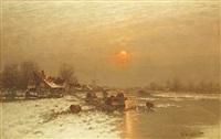 romantische holländische winterlandschaft in abendsonne am flußlauf by johann jungblut