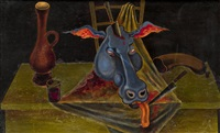 still life with a bull head by mihail chemiakin