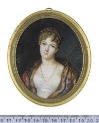 a lady, wearing white dress with lace slip, crimson and fur cloak, double-stranded gold necklace, her blonde hair curled, upswept and dressed with... by louis marie autissier