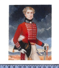an officer of the 4th dragoon guards, wearing scarlet coat with blue collar and silver lace, his sword in his left hand, his plumed bicorn in his right by michael bartlett