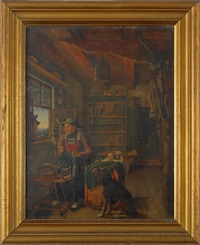 interior with a woman at her spinning wheel by karl altmann
