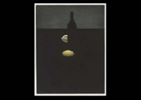 bottle with yellow lemon in darkness by yozo hamaguchi