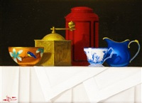 chinese bowl and red tea caddy by paul kavanagh