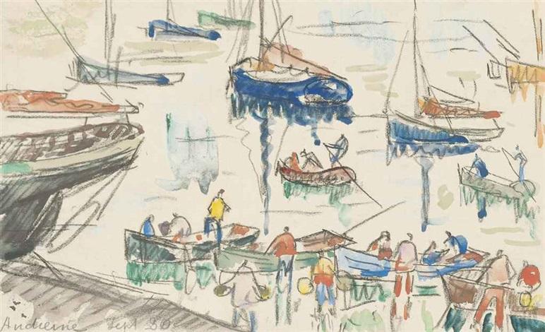 pêcheurs au port dandierne by paul signac